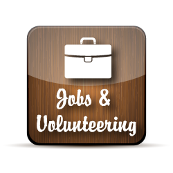wooden button with jobs and volunteering