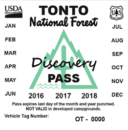 Image of Tonto Discovery Pass Vehicle Sticker