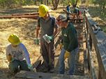People in hard hats work to replace wooden boards on a trail boardwalk.