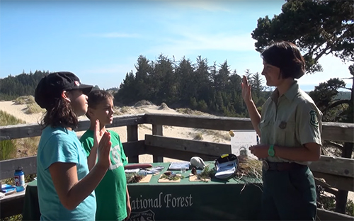 field ranger swears in two junior rangers
