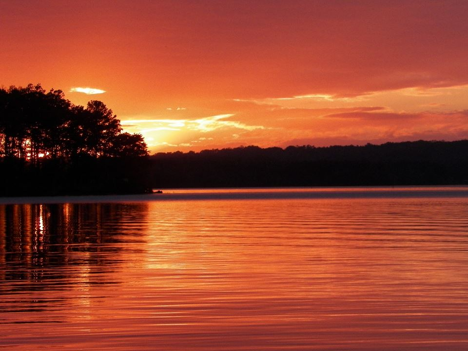 The sun sets over Badin Lake on the Uwharrie National Forest. Photo: Robin Touw