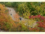 Motorcycles enjoying the fall colors along Talimena Scenic Drive