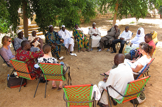 Meeting with community elders in Mali, Wesi Africa to promote tourism.