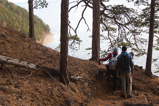 Walking the trail on the southwest side of Lake Baikal.