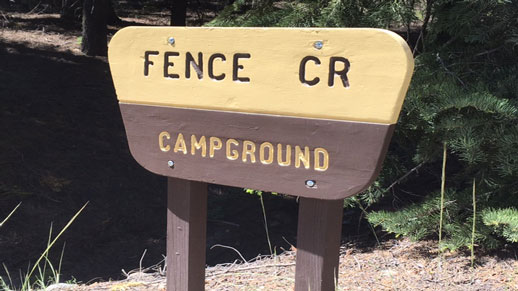 Fence Creek Campground Sign