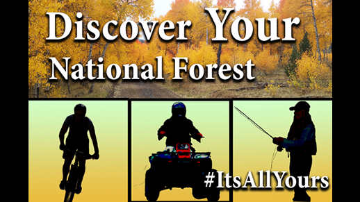 Image that shows a silhouette of a mountain biker, ATV rider, and a person flyfishing.