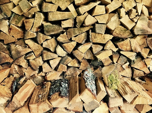 Firewood stacked in a pile for the winter.