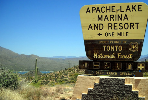 Apache Lake National Forest sign