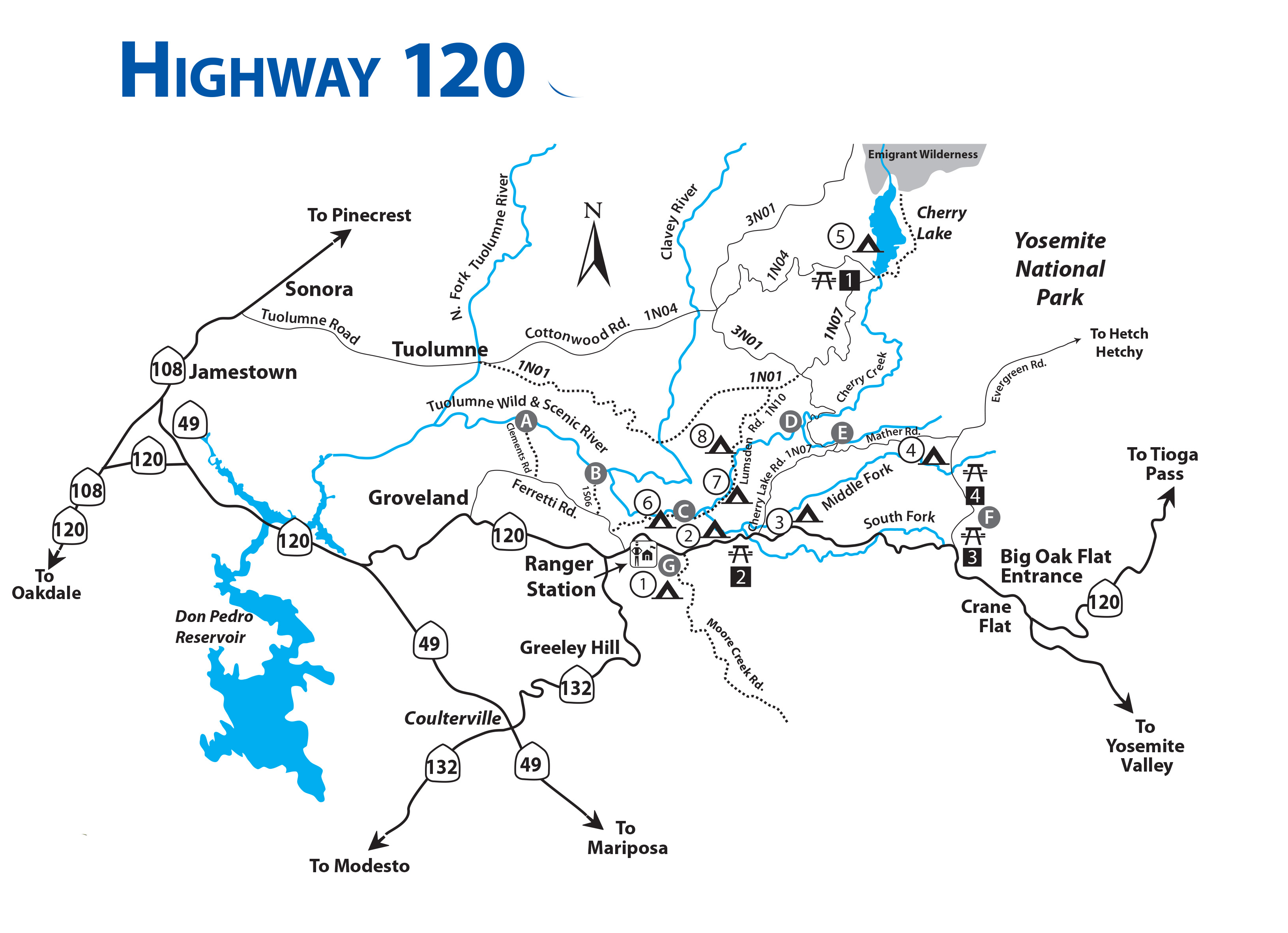 Highway 120 Traveler Map