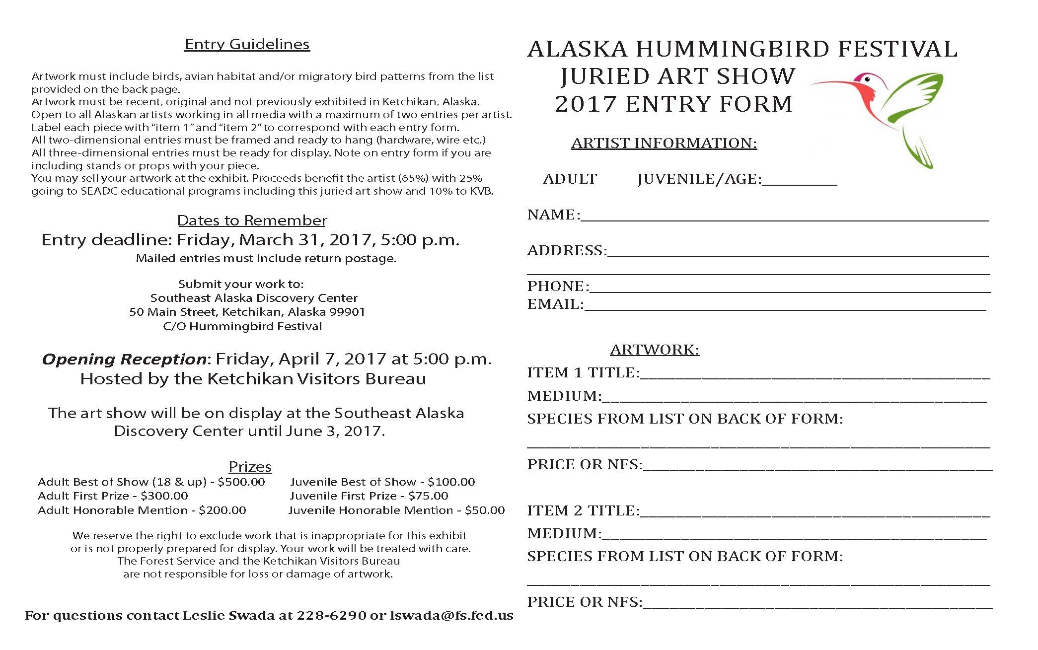 2017 Juried Hummingbird Art Show Form