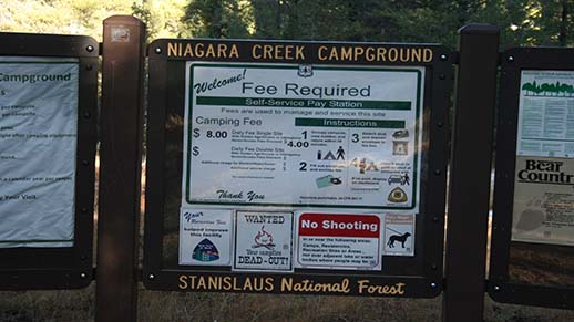 Niagara Creek Campground Information Board