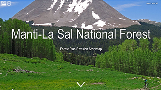 Cover page for the forest plan revision project for the Manti-La Sal National Forest