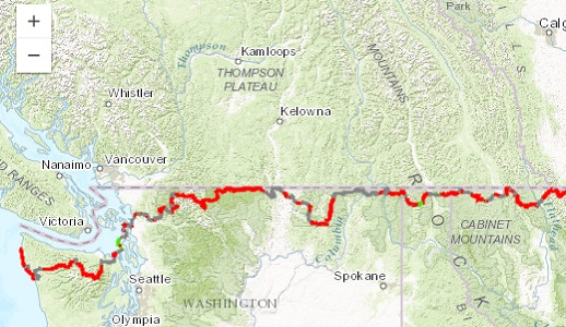 Thumbnail: Select to go to the interactive map of Pacific Northwest trail designated route
