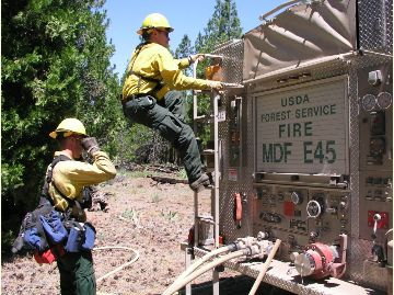 Shows a Modoc National Forest engine while on loan to Sands Fire 2016