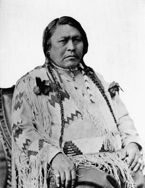 black & white portrait of indian chief