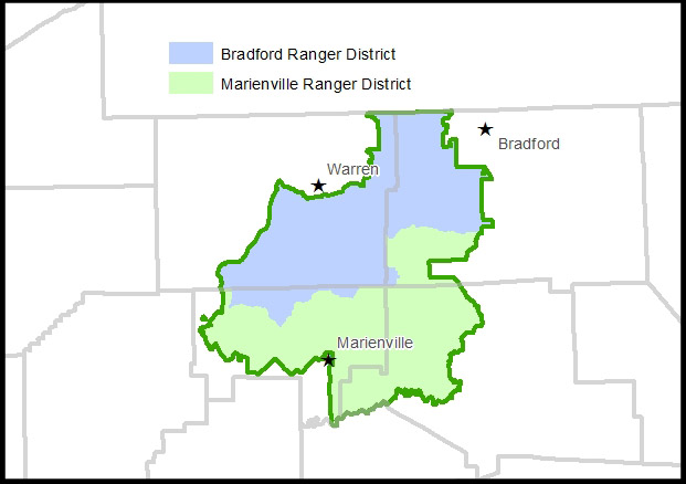 Map - Ranger Districts with towns