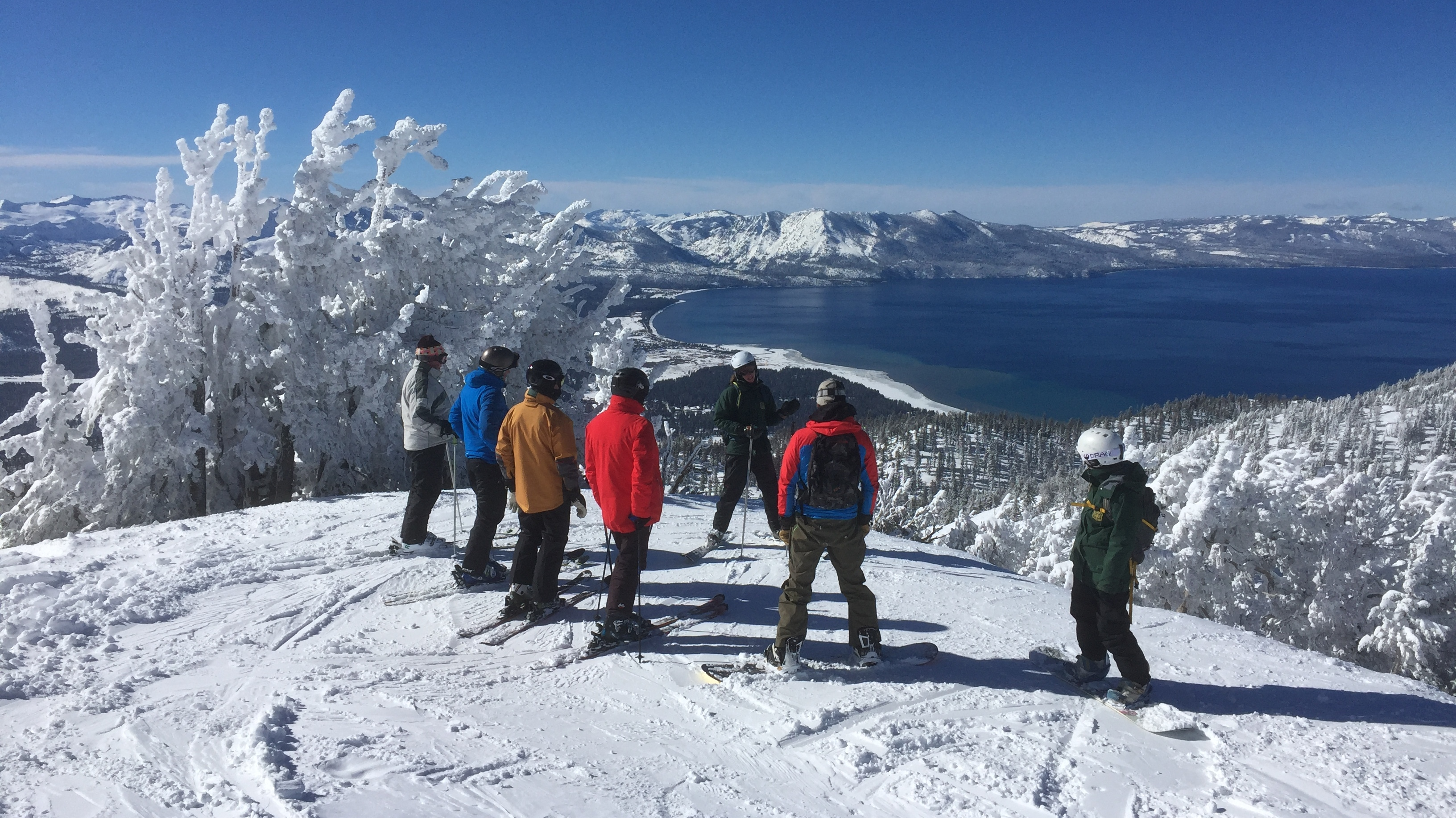 A group of skiers participates in Ski with a Ranger.