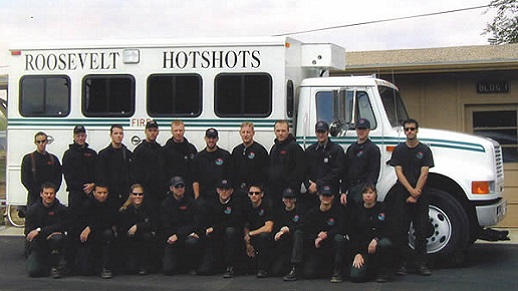 2002 Roosevelt Hotshots pose in a group.