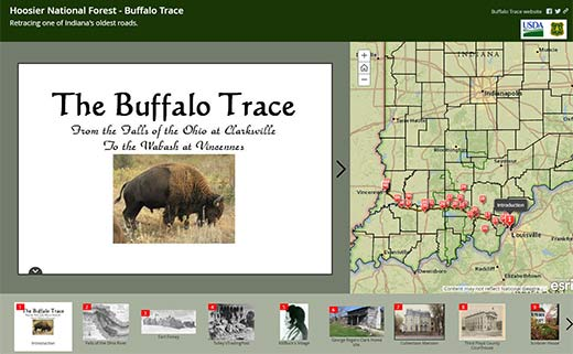 A screen shot of the homepage of the Buffalo Trace Interactive Map
