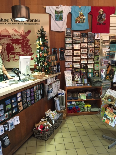 The Tahoe Heritage Foundation offers a wide variety of merchandise available for purchase at the Taylor Creek Visitor Center. Photo credit: Alex Vaughn.