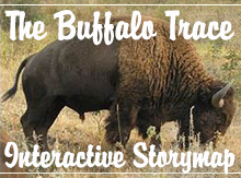 A bison roams the prairie. Over the image, text reads