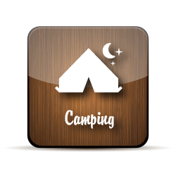 A stick figure image of tent over a moon, on a wood-grain jelly icon.