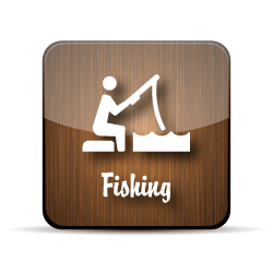 A stick figure sitting on the banks of a pond with pole in the water on a wood-grain jelly icon.