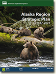 Cover of the Alaska Region Strategic Plan with a brown bear in the water and her three cubs above.