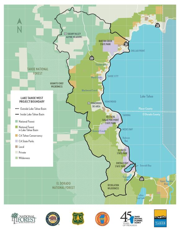 Map of the Lake Tahoe West proposed landscape restoration area.