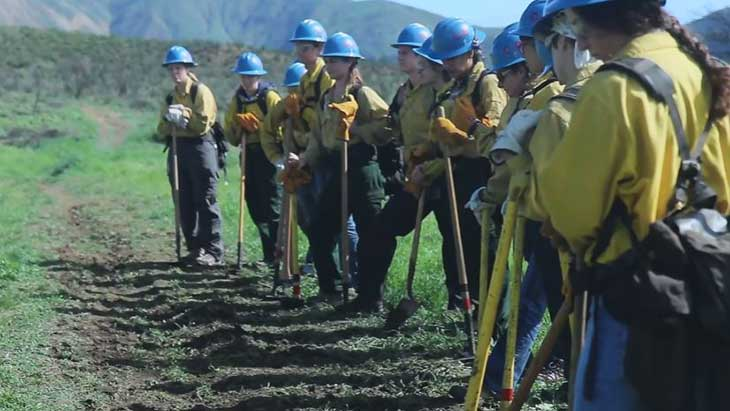 A line of women dressed in forest firefighting gear stand in a field with shovels and hoes.