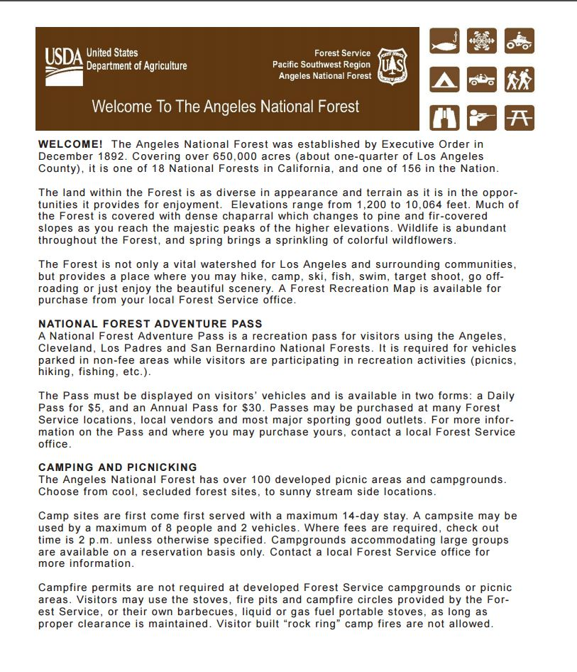 Angeles National Forest Maps Publications - Us forest service topo maps
