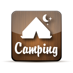Camping button with an illustration of a tent.