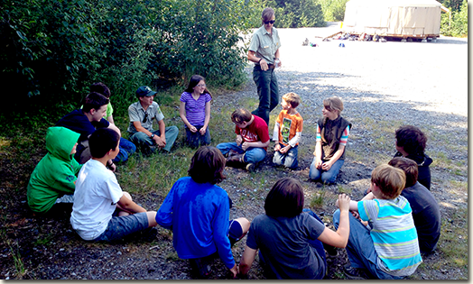 SCA intern Lauren Stepanik during a lesson with local youth at the Juneau Ranger District Day Camp.