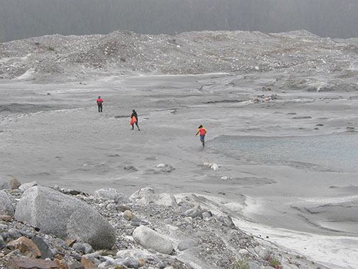 Walking on an outwash plain at the Baird Glacier