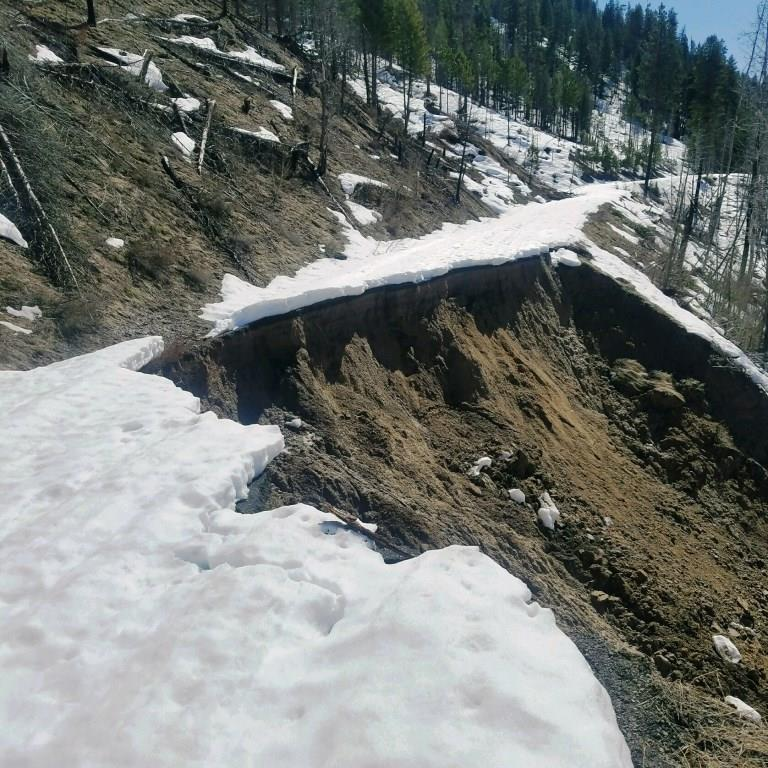 Photo of road slid off the side of the mountain