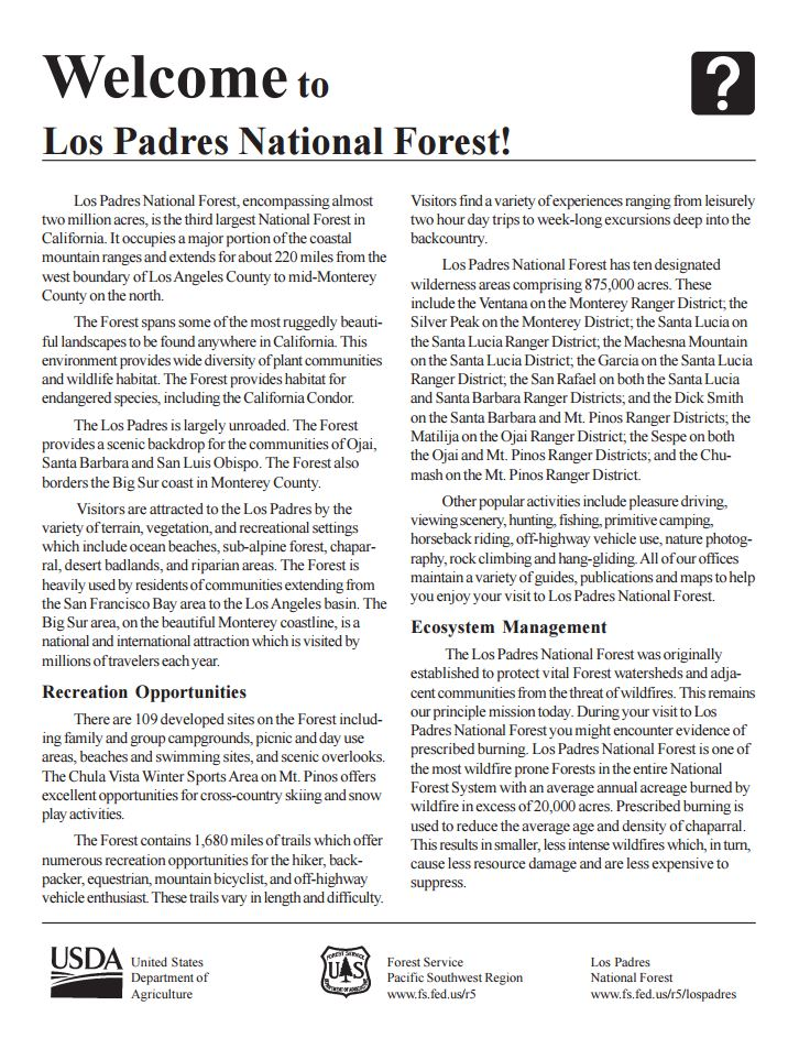 Los Padres National Forest Maps Publications - Us forest service topo maps