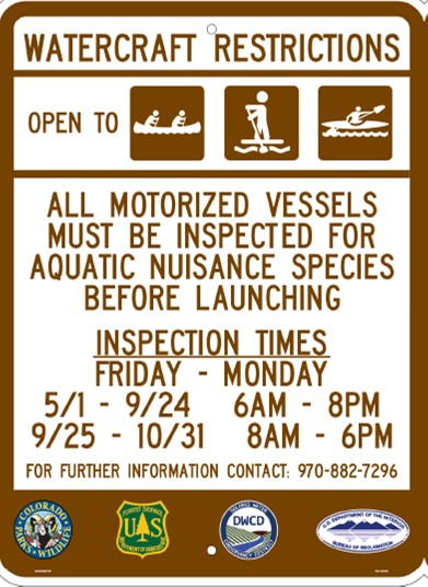 House Creek Boat Inspection Sign