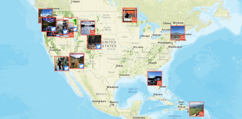 A photo of a map with photos on it to view a location