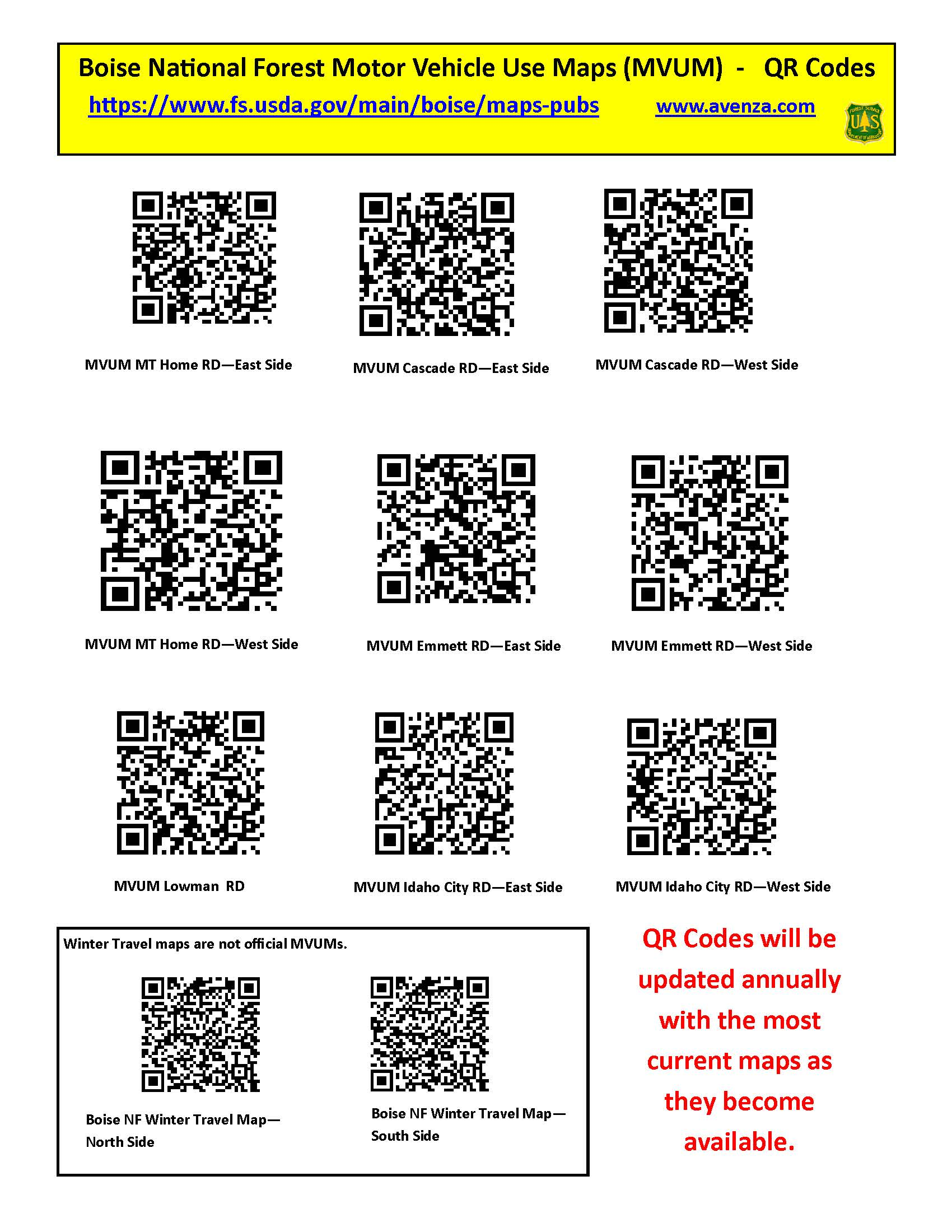 Photo of a document containing 2018 QR codes for MVUM maps