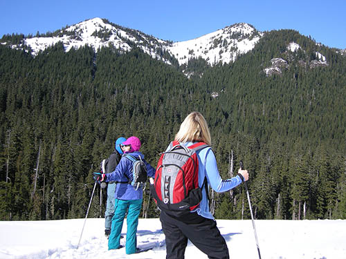 Snowshoers look out over a snow covered mountain landscape