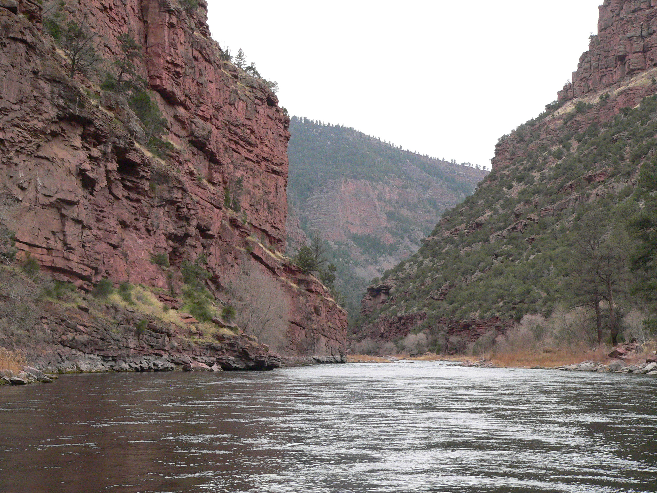 View of Green River in canyon below Flaming Gorge Dam