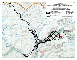 Map of Forest Order 04-17-05 R: temporary closure of Fossil Creek, Childs, FR 708, and FR 502