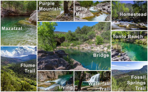 Collage of the Fossil Creek sites and trails.