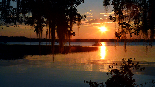 Enjoy wonderous sunsets at Olustee Beach.