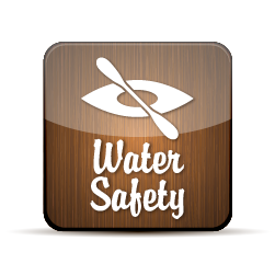 Water Safety Button with an illustration of a kayak.