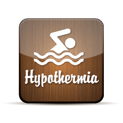 Button with an illustration of a person swimming with the word hypothermia below it.