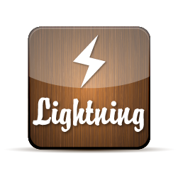 Button for lightning with an illustration of a lightning bolt with the word lightning below it.