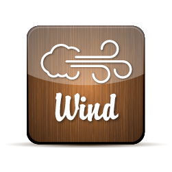 Button with an illustration of wind blowing from a cloud with the word wind below it.