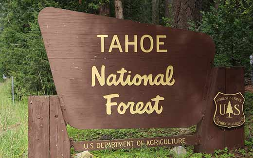 Tahoe National Forest sign.