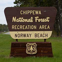 Wooden entrance sign for Norway Beach